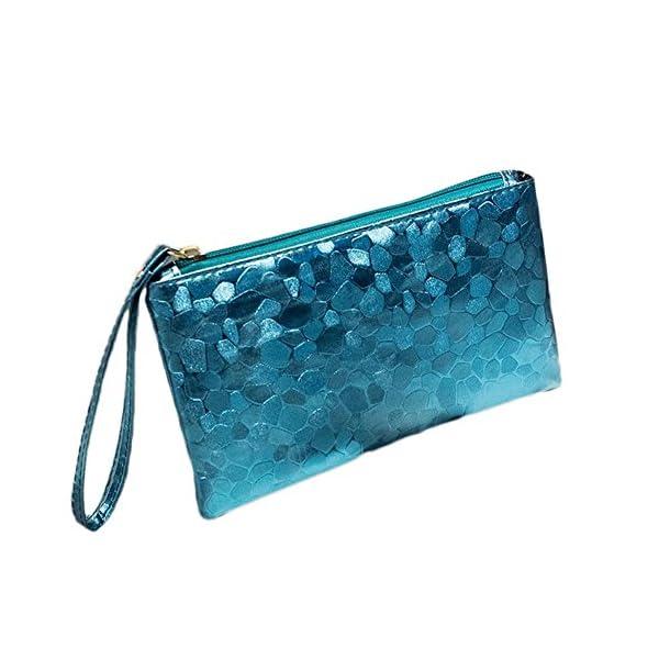 51FXeI99NHL. SS600  - Fansi - Bolso de mano multifunción para mujer, 1 unidad, bolsa de almacenamiento, pu, azul, 19*11*2cm