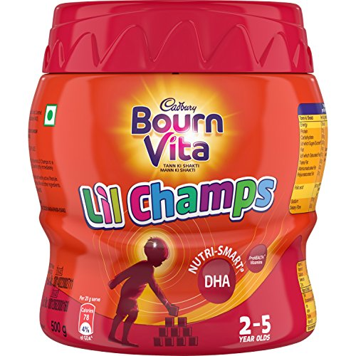 Cadbury Bournvita Little Champs Pro-Health Chocolate Health Drink, 500 gm Jar