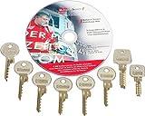 Schlagschlüssel Set - Bumpkey-Set- zum Öffnen der meistverkauften Baumarkt Schlösser, 9-teilig inkl. Anleitung auf DVD