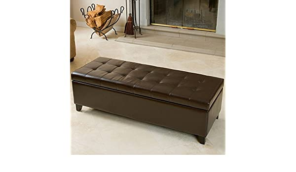 Incredible Fulham Storage Ottoman In Brown Bonded Leather Hardwood Legs Gmtry Best Dining Table And Chair Ideas Images Gmtryco