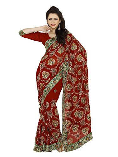 Bollywood indischer Frauen Sari mit Ungesteckt Oberteil/Top Mirchi Fashion Party indians saree kleidung (Tragen Indische Sari)