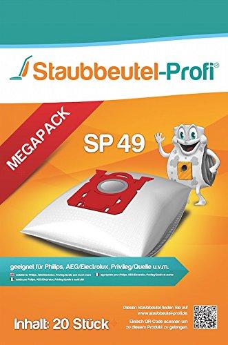 20 Staubsaugerbeutel AEG, S-Bag, Philips FC 9050...9099 -Jewel, FC 9100...9149-Specialist, FC 9150...9199-Performer (SP49) von Staubbeutel-Profi®