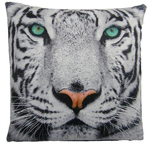 Animal Housse de coussin en velours de luxe Motif tigre blanc des neiges Noir 43 cm