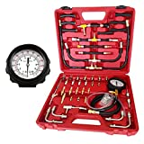 OBLLER 0-140psi Oil Fuel Injection Tester Pressure Testing Meter Gauge Tool Kit Red Box