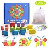 HellDoler 155 Blocchi Modello in Legno Set Puzzle di Forma Geometrica Classico Grafico educativo Tangram Montessori Giocattoli con 24 Pezzi di Carte di Design per Bambini