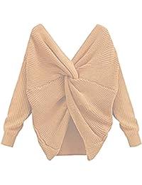 CELEB LOOK C67 CELEBMODELOOK New Women's Twist Wrap Detail Wide V Neck Cable Knit Jumper Tops