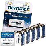 5x batteria al litio Nemaxx da 9V set per rilevatori di fumo 10 anni di vita