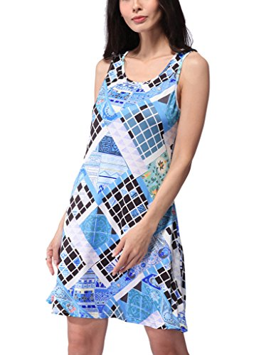 Haodasi New Summer Casual Beach Robes jupe sans manches imprimé floral vêtements blue