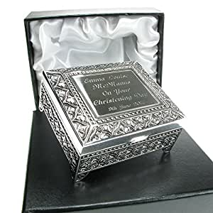 Christening Gift, Personalised Silver Plated Trinket Box in a Satin Lined Presentation Box, Christening Gift Idea