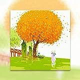YKCKSD Malen Nach Zahlen Kunst Malen Nach Zahlen Koreanische Landschaft Illustration Cartoon Ausflug Reisen Wollen Weibliche Dekorative Gemälde Rahmenlose 40X50Cm