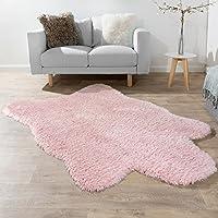 XXL Poils Longs Tapis Fausse Fourrure Ours Polaire Style Flokati Doux Haut De Gamme Nouveau En Rose, Dimension:60x100 cm