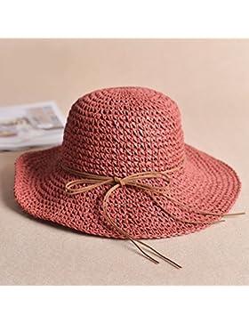 LVLIDAN Sombrero para el sol del verano Lady Anti-Sol Playa sombrero de paja plegable rojo