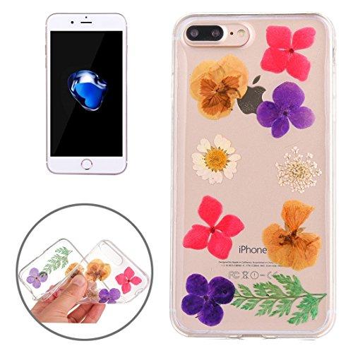 Pour iPhone 7 Plus Epoxy Dripping Pressé Real Dried Flower Soft Transparent TPU Housse de protection JING ( SKU : Ip7p0996g ) Ip7p0996a