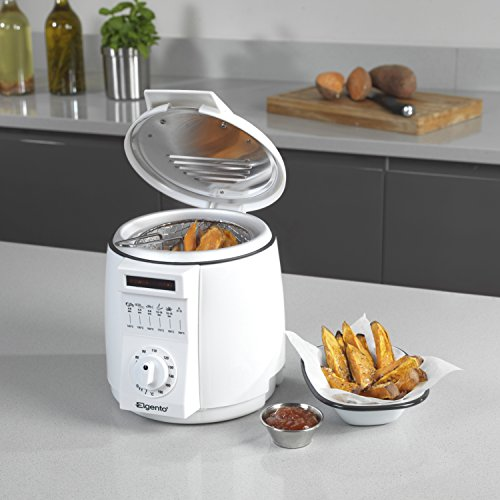 51FXjffs6aL. SS500  - Elgento Compact Deep Fat Fryer with Cool Touch Exterior, Adjustable Thermostat, Internal Filter, Plastic, 900 W, 1 Litre, White