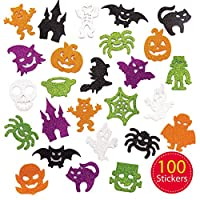 Baker Ross AW862-V Glitter Foam Stickers (Pack of 100) -Spooky Arts and Crafts for Halloween, Assorted
