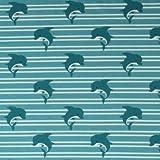 Delfine auf Streifen - Türkis - Jersey