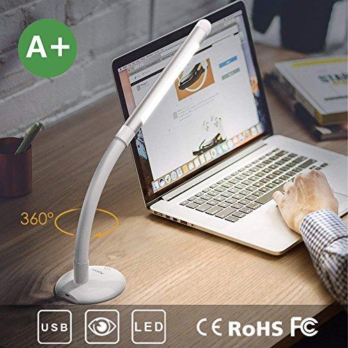 Aglaia lámpara de mesa USB Batería ebare 3W, ojo Protección–Lámpara LED de mesa con 3brillo ajustable per Touch Control, inalámbrica para Estudiar Lectura trabajar (Color Blanco)