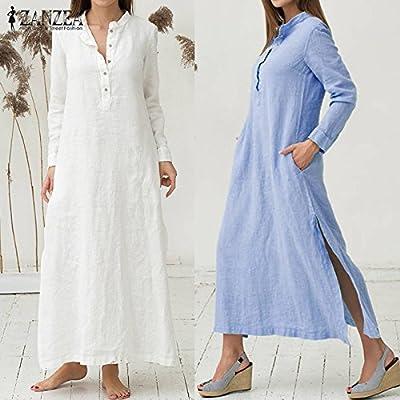 VONDA Womens Cuffed Sleeve Button Down Slit Hem Denim Shirt Dress with Pockets