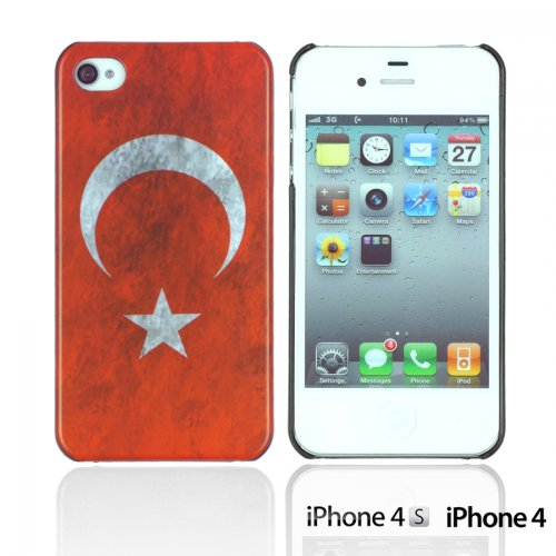 OnlineBestDigital - Vintage National Flag Hard Back Case / Housse pour Apple iPhone 4S / Apple iPhone 4 - Italie Turquie