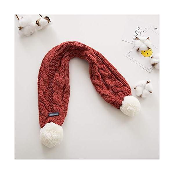Xuxuou 1 Pieza de Invierno De Bufandas con Bola Caliente de Bufanda para Bebé Bufanda de Lana Tejida a Mano size 68cm*8… 3