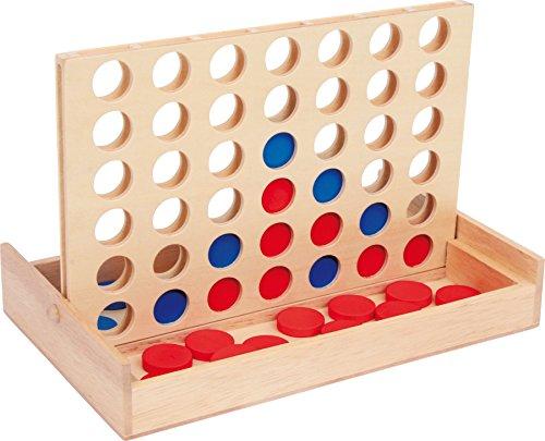 """small foot 3460 Gesellschaftsspiel \""""Vier in einer Reihe auf Reise\"""", \""""Vier gewinnt\"""" als Reiseversion in Holzbox"""