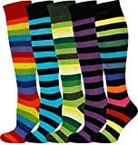 MySocks Unisex Kniehohe lange Socken Streifen Multi 502