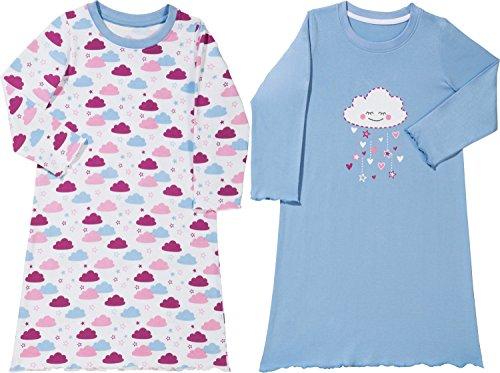 Kinderbutt Nachthemd 2er-Pack mit Druckmotiv Single-Jersey hellblau/weiß/Beere Größe 158/164