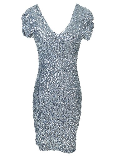 Kleid Silber Pailletten Mini (Anna-Kaci Frauen Sparkly Glitzer Pailletten Kurzarm V-Ausschnitt Bodycon Mini club)