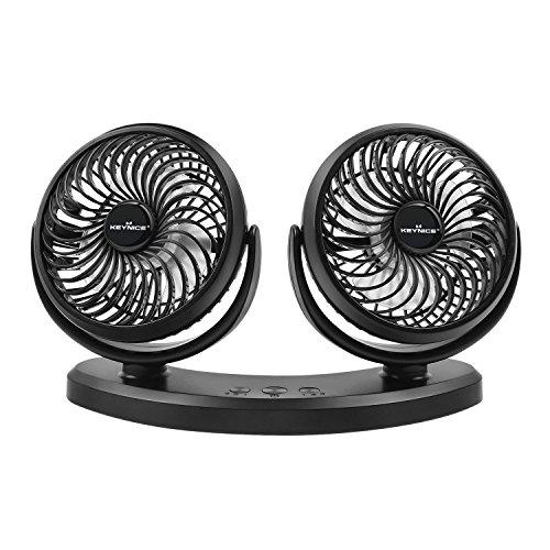 Ventilador eléctrico para coche con doble cabeza y giratorio 360°. Con 3 velocidades, ajustable, silencioso y USB para coche/hogar/oficina. Color negro