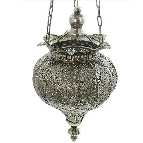 SIDCO Hänge Windlicht Laterne Kerzenhalter Pendelleuchte Kerzenleuchter Orient Silber