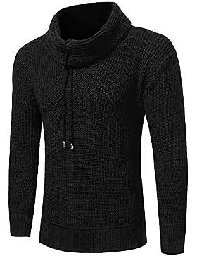 Maglia a manica lunga maglione autunno e inverno alta collare di lana grossolana a maniche lunghe uomo elegante...