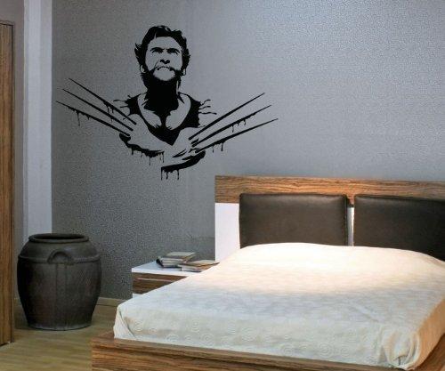Wandtattoo Logan Wolverine XMen Tattoo Aufkleber Wand Design Wandaufkleber 5C011, Farbe:Dunkelgrün Matt;Breite vom Motiv:75cm (Wolverine-aufkleber)
