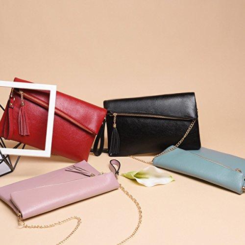 Damen Mode Schulter Diagonales Paket Handtasche Leder Quasten Temperament Lässige Tasche WineRed