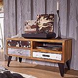 FineBuy Design Lowboard Jolin 100 x 51 x 40 cm Massivholz HiFi-Board mit 3 Schubladen | TV Unterschrank Ablage-Fach | Patchwork Fernsehtisch | Fernsehkommode TV Möbel
