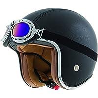 Shiro SH-234 Bad Boy - Casco de moto (piel), color negro