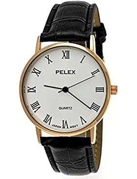 Elegante Pelex London Damen-Uhr Herren-Uhr Unisex Analog Quarz Armband-Uhr Klassisches Design Schwarz Rose-Gold...