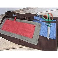 Tablier de jardinage fait main, tablier de bricolage en lin jeans 49 x 27 cm - pochette rangement, Cadeaux anniversaires, cadeaux Noël, cadeaux maman, jardin