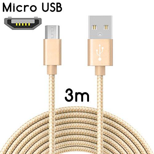 TheSmartGuard Micro-USB Kabel auf USB 2.0 | Nylon Ladekabel mit Micro-USB-Anschluss | Länge: 3 Meter/3m | Farbe: Gold - T Micro-usb-kabel
