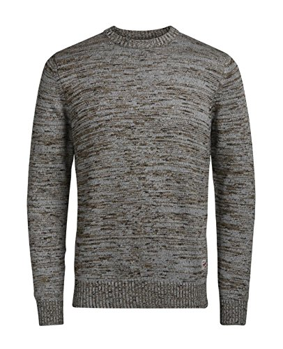 JACK & JONES Herren Pullover Jorswing Knit Crew Neck Camp Grau (Light Grey Melange Fit:KNIT)