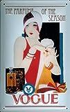 Blechschild Vogue Parfum Schild Parfume Nostalgieschild retro Schild Werbeschild Parfumwerbung