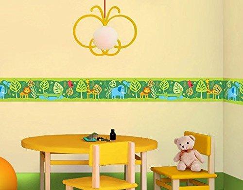 Wandtattoo Bordüre No.BP3 Zootiere Kinderzimmer Papagei Elefant Löwe Giraffe