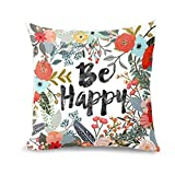 OdeJoy Be Happy Umgeben Mit Blumen Und Pflanzen Personalisiert Sofa Kissen Abdeckung Drucken Kissenbezug Square KissenFall Leinen Pillow Einfach Zuhause Dekor (Multicolor,1 PC)