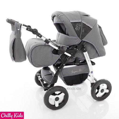 Preisvergleich Produktbild Chilly Kids J1 Kombikinderwagen (Regenschutz, Moskitonetz) 56 Safarigrey