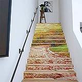 YMWLKE Adesivi murali Adesivo autoadesivi 3D Scale per casa Scala Decorazione smontabile Strada di Pietra variopinta Vinile Adesivo Carta 100x18cm13PCS / Set by