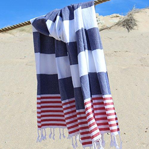 Anature asciugamano hammam - navy blue / red - 100% cotone - prelavato - super soft - uso diretto – hammam towel – asciugamano bagno - asciugamano backpacker - aciugamano mare - baby coperte – turkish towel - pestemal – fouta