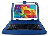 Etui bleu + clavier intégré AZERTY pour Samsung Galaxy Tab 4 (SM-T530/T533), Tab A 9,7' (T550) et Tab A 10.1 (2016) T580 tablettes 10.1' - stylet tactile BONUS + Garantie DURAGADGET de 2 ans
