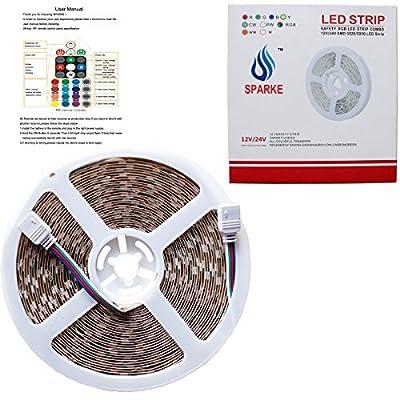 LED Streifen Lichter, Sparke 5050 RGB 10m LED Leiste Kit & RF 28 Tasten Fernbedienung + Elektrizitätsquelle LED Band geeignet für DIY Weihnachtsfeiertags Küchenschrank Beleuchtung/Innenbe