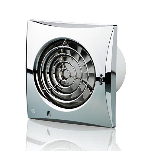 Blauberg UK 100leise TH chrom 100mm Abluftventilator mit Luftfeuchtigkeit–Chrom