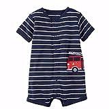 Tyoby Baby Baby-Säuglingsmädchen-Jungen-Einteiler-Karikatur-gestreifte Druckspielanzug-Bodysuit-Kleidung Freizeitheim Babykleidung(Blau,12M)