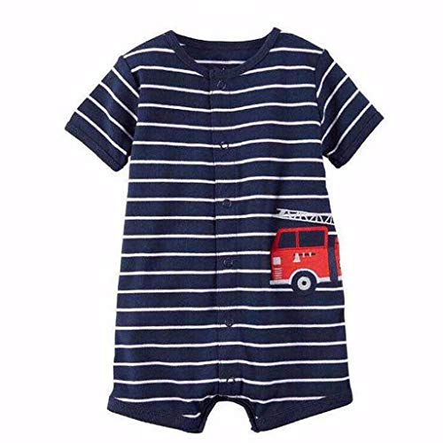 Overall Baby Sommer Infant Girl Boy One-Pieces Cartoon Striped Printed Romper Bodysuit Clothes - Cord-one Piece
